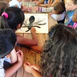 LACC STEAM Summer Camp kids engaged with an educational art activity outlining the anatomy of an insect