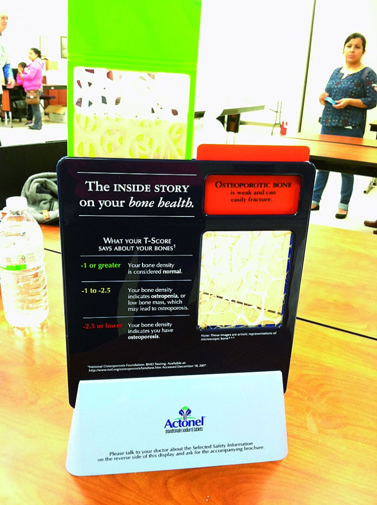 La Rosa Health Center also participated at science fair showing the effects of osteoporosis.