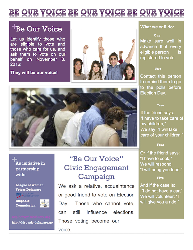 Be Our Voice flyer ENGLISH