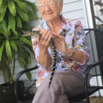 Lucille Simmons pets a baby alligator on a tour of the Everglades with her great-grandson. (Courtesy of Kristin Burton)