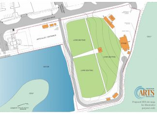 """""""The proposed site plan for Freeman Arts Pavilion will provide COVID-friendly seating for up to 2,200 patrons on the grounds adjacent to the current stage lawn in Selbyville."""""""